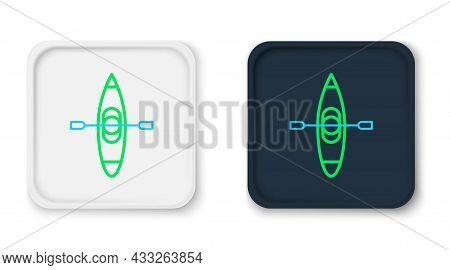 Line Kayak And Paddle Icon Isolated On White Background. Kayak And Canoe For Fishing And Tourism. Ou
