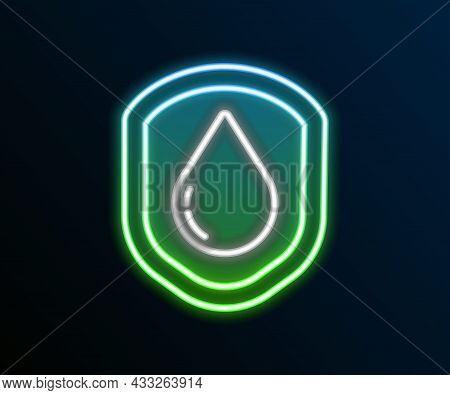 Glowing Neon Line Waterproof Icon Isolated On Black Background. Water Resistant Or Liquid Protection