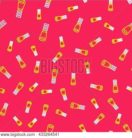 Line Zipper Icon Isolated Seamless Pattern On Red Background. Vector