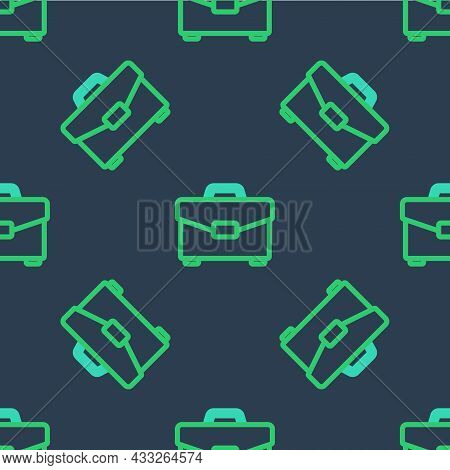 Line Briefcase Icon Isolated Seamless Pattern On Blue Background. Business Case Sign. Business Portf