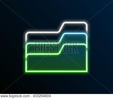 Glowing Neon Line Document Folder Icon Isolated On Black Background. Accounting Binder Symbol. Bookk