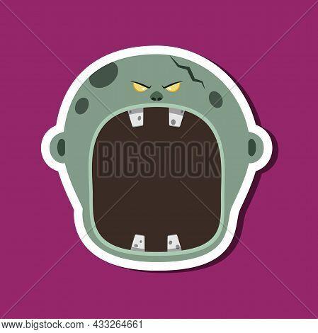 Monster Stickers With Halloween Grey Zombie. Purple Background. Flat Design. Halloween Symbols. Vect