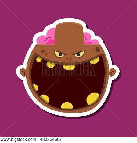 Monster Stickers With Halloween Brown Zombie. Purple Background. Flat Design. Halloween Symbols. Vec