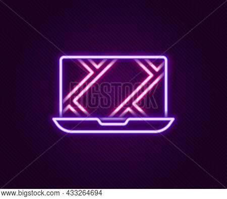 Glowing Neon Line Infographic Of City Map Navigation Icon Isolated On Black Background. Laptop App I