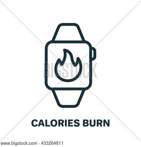 Fitness Tracker For Count Burned Calories Line Icon. Smart Wristband With Flame Linear Pictogram. Sm