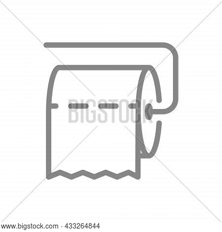 Toilet Paper On Holder Horizontally Line Icon. Paper Roll, Napkins, Public Toilet, Personal Care Pro