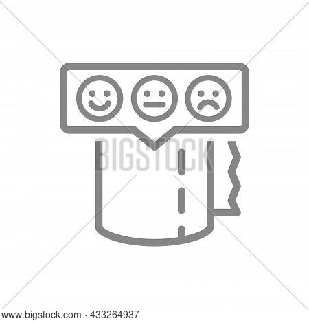Toilet Paper With Happy, Sad And Neutral Faces In Speech Buble Line Icon. Paper Roll, Napkins, Produ