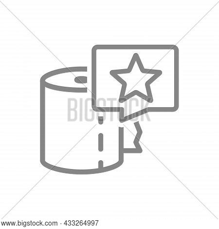 Paper Towels And Star In Speech Buble Line Icon. Paper Roll, Napkins, Positive Product Evaluation Sy