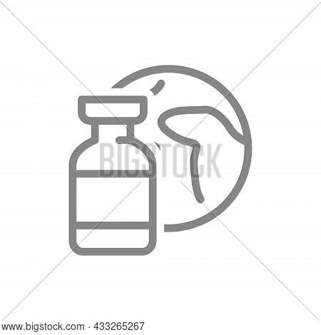 Medical Ampoule And Planet Earth Line Icon. World Vaccination, Immunity, Serum, Vaccine Symbol