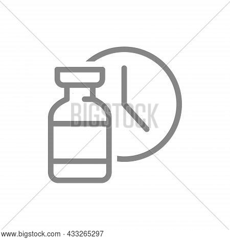 Medical Ampoule And Watch Line Icon. Vaccination Time, Worldwide Immunity, Duration Of The Vaccine S