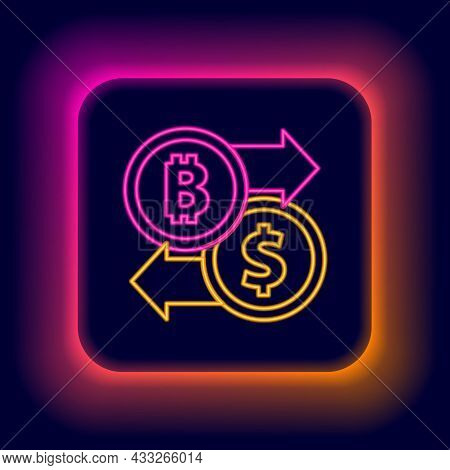 Glowing Neon Line Cryptocurrency Exchange Icon Isolated On Black Background. Bitcoin To Dollar Excha