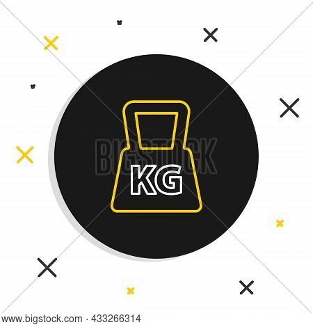 Line Weight Icon Isolated On White Background. Kilogram Weight Block For Weight Lifting And Scale. M