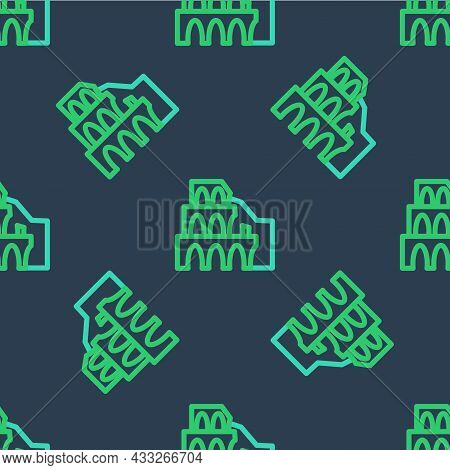 Line Coliseum In Rome, Italy Icon Isolated Seamless Pattern On Blue Background. Colosseum Sign. Symb