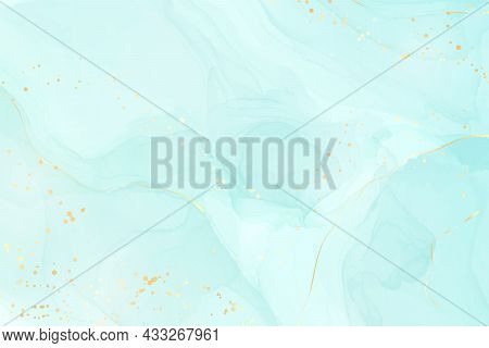 Pastel Cyan Mint Liquid Marble Watercolor Background With Gold Lines And Brush Stains. Teal Turquois