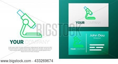 Line Microscope Icon Isolated On White Background. Chemistry, Pharmaceutical Instrument, Microbiolog