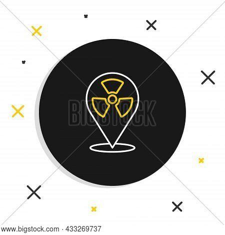 Line Radioactive In Location Icon Isolated On White Background. Radioactive Toxic Symbol. Radiation
