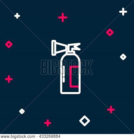 Line Fire Extinguisher Icon Isolated On Blue Background. Colorful Outline Concept. Vector