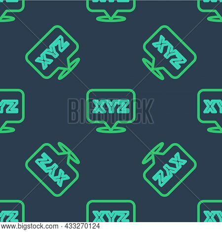 Line Xyz Coordinate System Icon Isolated Seamless Pattern On Blue Background. Xyz Axis For Graph Sta