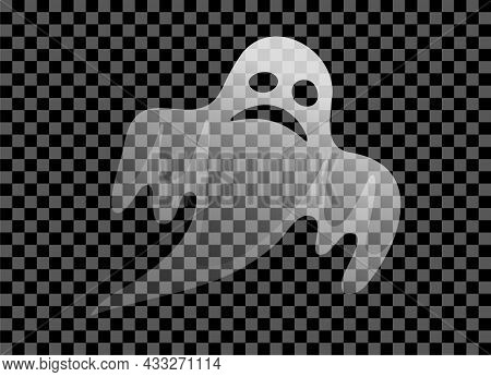Scary Transparent White Ghost Isolated Icon. Spooky Symbol For Halloween Holiday. Vector Eps Sign