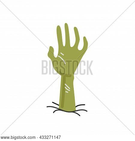 Zombie Hand In Ground Drawing Colored Isolated On White Background. Revived Dead Tries To Crawl Out