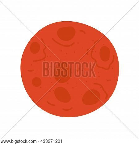 Red Moon With Lunar Craters On Surface Drawing Colored Icon. Vector Isolated Eps Symbol