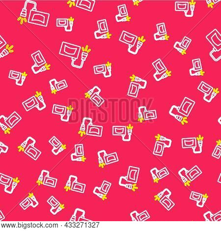 Line Ultrasound Icon Isolated Seamless Pattern On Red Background. Medical Equipment. Vector