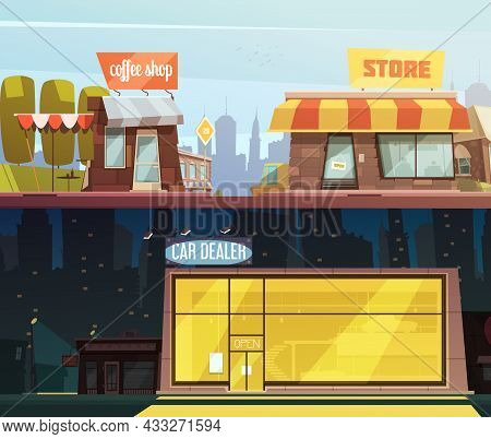 Store Buildings Horizontal Banners Set With Car Dealer Symbols Cartoon Isolated Vector Illustration