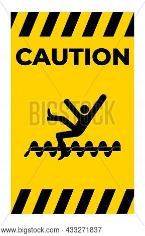 Warning Exposed Rotating Parts Will Cause Service Injury Or Death Symbol Sign Isolate On White Backg