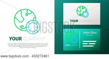 Line Casino Chips Icon Isolated On White Background. Casino Gambling. Colorful Outline Concept. Vect