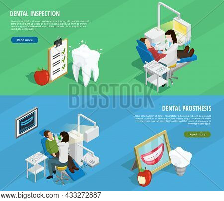 Stomatology Isometric Horizontal Banners With Orthodontic Dentistry And Tooth Protection And Checkup
