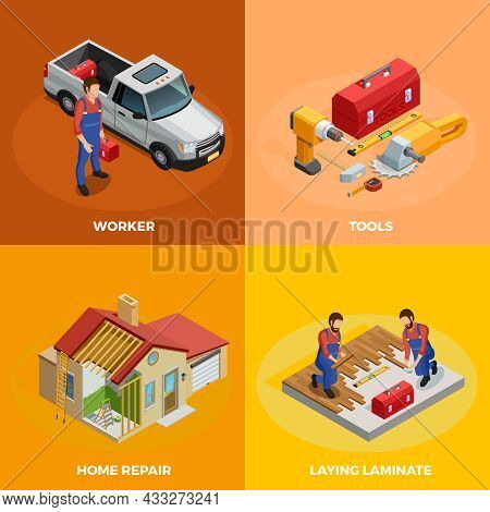 Home Improvement Isometric Template With Foreman Instruments Building Construction And Floor Repair