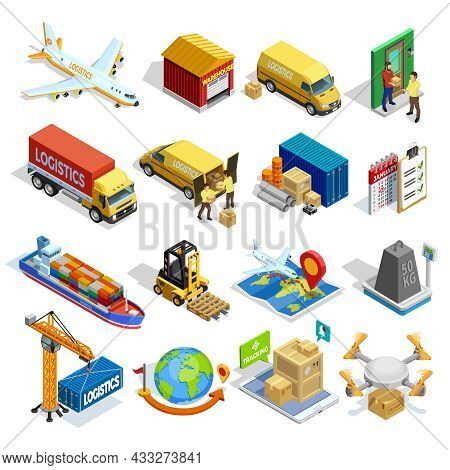 Logistics Isometric Icons Set Of Different Transportation Distribution Vehicles And Delivery Element