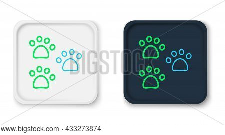 Line Paw Print Icon Isolated On White Background. Dog Or Cat Paw Print. Animal Track. Colorful Outli