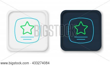 Line Walk Of Fame Star On Celebrity Boulevard Icon Isolated On White Background. Hollywood, Famous S