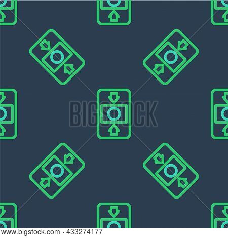 Line Fire Alarm System Icon Isolated Seamless Pattern On Blue Background. Pull Danger Fire Safety Bo
