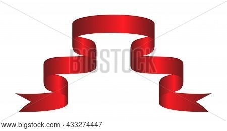 Red Colorful Curved Ribbon On White Background. Vector Illustration. Eps10