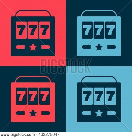 Pop Art Slot Machine With Lucky Sevens Jackpot Icon Isolated On Color Background. Vector