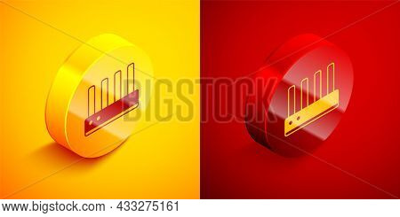 Isometric Router And Wi-fi Signal Icon Isolated On Orange And Red Background. Wireless Ethernet Mode