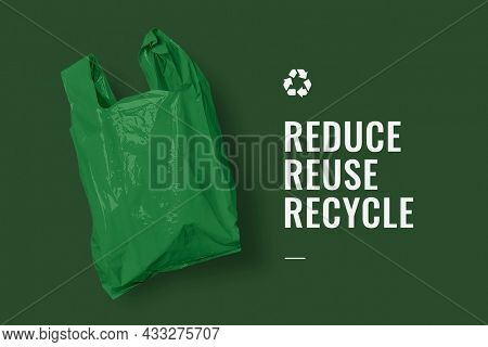 Reduce reuse recycle campaign banner with green plastic bag