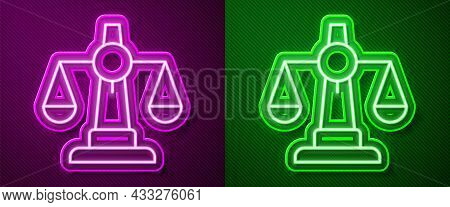 Glowing Neon Line Scales Of Justice Icon Isolated On Purple And Green Background. Court Of Law Symbo