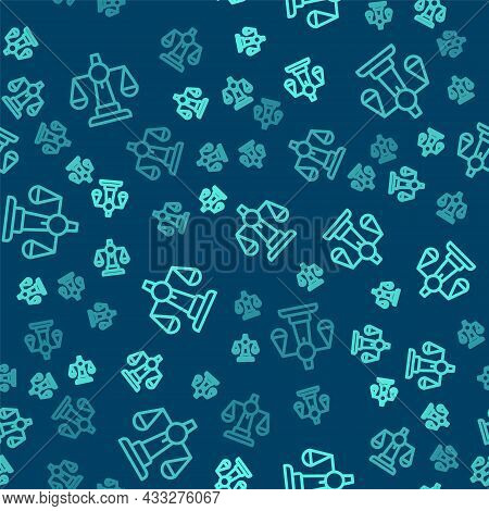 Green Line Scales Of Justice Icon Isolated Seamless Pattern On Blue Background. Court Of Law Symbol.