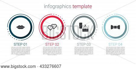 Set Smiling Lips, Two Linked Hearts, Diamond Engagement Ring And Bow Tie. Business Infographic Templ