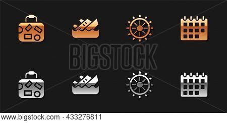 Set Suitcase, Sinking Cruise Ship, Ship Steering Wheel And Calendar Icon. Vector