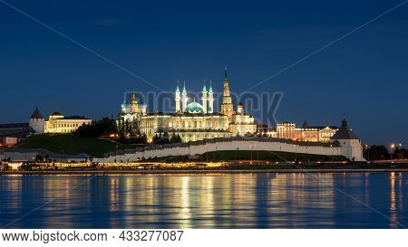 Kazan Kremlin At Night, Tatarstan, Russia. It Is Top Landmark Of Kazan. Panorama Of White Fortress A