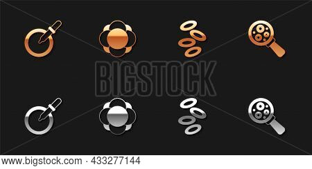 Set Petri Dish With Pipette, Molecule, Hemoglobin And Microorganisms Under Magnifier Icon. Vector