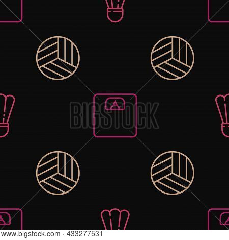 Set Line Badminton Shuttlecock, Volleyball Ball And Bathroom Scales On Seamless Pattern. Vector