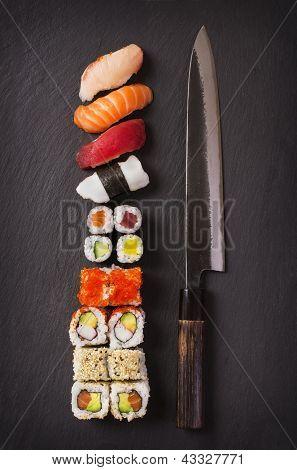 japanese knife with sushi