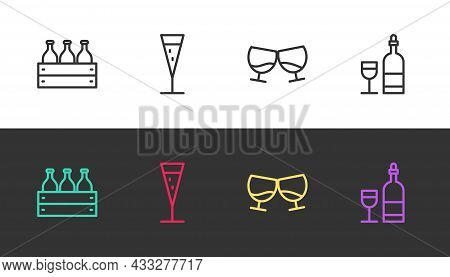 Set Line Bottles Of Wine In A Wooden Box, Glass Champagne, Cognac Or Brandy And Wine Bottle With Gla