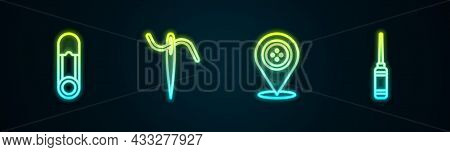 Set Line Safety Pin, Needle For Sewing With Thread, Location Tailor Shop And Awl Tool. Glowing Neon