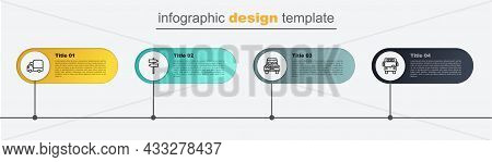 Set Line Bus, Car, Road Traffic Signpost And Delivery Cargo Truck. Business Infographic Template. Ve